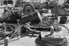 Shipboard of old excavator. In harbor Stock Photography