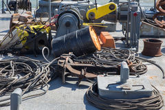 Shipboard of old excavator. With the rops and cables Royalty Free Stock Photo