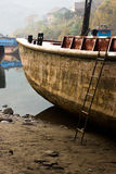 Shipboard. This is a picture of a ship , It was stranding on riverside of a village, was taken in Luzhou, Sichuan, China Stock Photos
