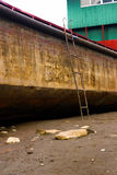 Shipboard. This is a picture of a ship , It was stranding on riverside of a village, was taken in Luzhou, Sichuan, China Stock Photo