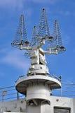 Shipboard satellite communication antennas Stock Image