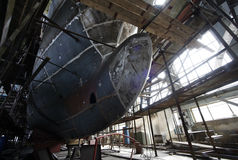 Shipbuilding. Big a vessel in shop Royalty Free Stock Photos