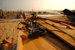 Shipbuilding at the beach. Royalty Free Stock Photo