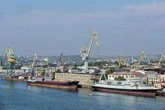 Shipbuilding company. SEVASTOPOL, REPUBLIC OF CRIMEA, RUSSIA - AUG 10, 2014: Shipbuilding company LLC Sevmorverf that is part of the JSC Sevastopol marine plant stock image