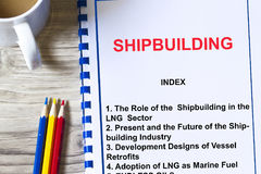 Shipbuilding concept- seminar training all about shipbuilding. With topics on a coversheet of a lecture Royalty Free Stock Photo