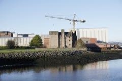 Shipbuilding Crane and Castle Newark Port Glasgow stock image