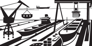 Shipbuilding with docks and cranes. Vector illustration Stock Photography