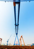 Shipbuilding gantry crane factory site Stock Image