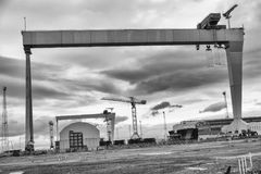Shipbuilding gantry cranes ready for action Stock Photo