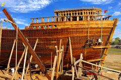 Shipbuilding in Gujarat, India. On the photo: Shipbuilding in Gujarat, India Royalty Free Stock Photography