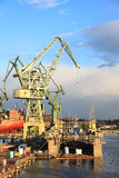 Shipbuilding industry. Industrial view of the Gdansk Shipyard, Poland stock photography