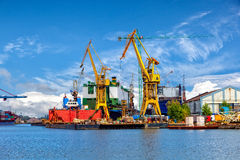 Shipbuilding industry. Industrial view of the Gdansk Shipyard, Poland stock images