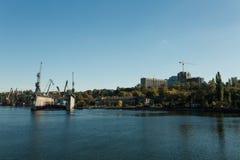 Shipbuilding plant in the city of Nikolaev, Ukraine, the largest Royalty Free Stock Photos