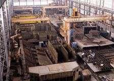 Shipbuilding, ship repair. Shipbuilding. Hull repair shop. Industries Stock Photos