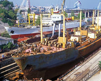 Shipbuilding, ship repair. Shipbuilding. Dok (main sector Stock Photography