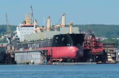 Shipbuilding in shipyard in Gdynia Royalty Free Stock Image