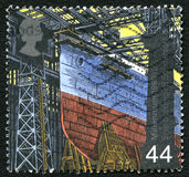 Shipbuilding UK Postage Stamp. GREAT BRITAIN - CIRCA 1999: A used postage stamp from the UK, commemorating Shipbuilding, circa 1999 stock photos