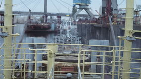 Shipbuilding zone view, port from a board of industrial boat. Hd stock video