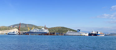 Shipbuilding zone. View of a shipbuilding zone under the blue sky Stock Photos