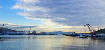 Shipbuilding zone. View of a shipbuilding zone under a cloudy sky Stock Images