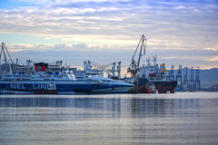 Shipbuilding zone. View of a shipbuilding zone under a cloudy sky Stock Photos