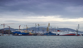 Shipbuilding zone. View of a shipbuilding zone under a dull sky Royalty Free Stock Image