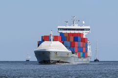 CONTAINER SHIP. Shiping traffic near the port Stock Image