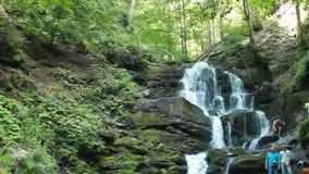 Shipit Shipot - en vattenfall i de ukrainska Carpathiansna stock video