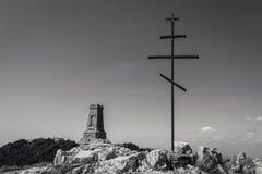 "Shipka Memorial. The Shipka Memorial (Bulgarian: паметник ""Шипка"") is on Stoletov Peak near the pass, reached stock image"