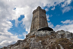 Shipka Memorial. The memorial war on Shipka pass is a tower stone 32 m. high in the form of a truncated pyramid builded to those who died for the Liberation of Royalty Free Stock Photo