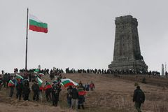 Shipka peak monument - a symbol of the liberation of Bulgaria. March 3 is the National Day of Bulgaria. Shipka peak, Bulgaria - March 3, 2015: People in the Royalty Free Stock Image