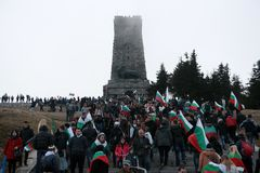 Shipka peak monument - a symbol of the liberation of Bulgaria. March 3 is the National Day of Bulgaria. Shipka peak, Bulgaria - March 3, 2016: People in the Stock Image