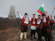 Shipka peak monument - a symbol of the liberation of Bulgaria. March 3 is the National Day of Bulgaria. Shipka peak, Bulgaria - March 3, 2016: People in the Stock Photo