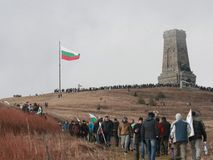 Shipka peak monument - a symbol of the liberation of Bulgaria. March 3 is the National Day of Bulgaria. Shipka peak, Bulgaria - March 3, 2016: People in the Royalty Free Stock Images