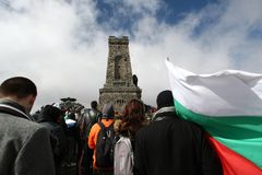Shipka peak monument - a symbol of the liberation of Bulgaria. March 3 is the National Day of Bulgaria. Shipka peak, Bulgaria - March 3, 2015: People in the Royalty Free Stock Photography