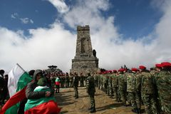 Shipka peak monument - a symbol of the liberation of Bulgaria. March 3 is the National Day of Bulgaria. Shipka peak, Bulgaria - March 3, 2015: People in the Stock Images