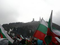 Shipka peak monument - a symbol of the liberation of Bulgaria. March 3 is the National Day of Bulgaria. Shipka peak, Bulgaria - March 3, 2015: People in the Stock Photos