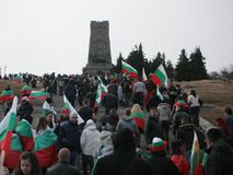 Shipka peak monument - a symbol of the liberation of Bulgaria. March 3 is the National Day of Bulgaria. Shipka peak, Bulgaria - March 3, 2015: People in the Stock Image