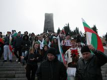 Shipka peak monument - a symbol of the liberation of Bulgaria. March 3 is the National Day of Bulgaria. Shipka peak, Bulgaria - March 3, 2016: People in the Royalty Free Stock Photo