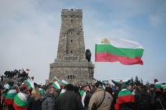 Shipka peak monument - a symbol of the liberation of Bulgaria. March 3 is the National Day of Bulgaria. Shipka peak, Bulgaria - March 3, 2016: People in the Royalty Free Stock Photos