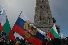 Shipka peak monument - a symbol of the liberation of Bulgaria. March 3 is the National Day of Bulgaria. Shipka peak, Bulgaria - March 3, 2016: People in the Stock Photos