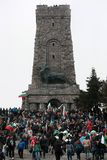 Shipka peak monument - a symbol of the liberation of Bulgaria. March 3 is the National Day of Bulgaria. Shipka peak, Bulgaria - March 3, 2016: People in the Stock Images
