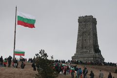 Shipka peak monument - a symbol of the liberation of Bulgaria. March 3 is the National Day of Bulgaria. Shipka peak, Bulgaria - March 3, 2016: People in the Stock Photography