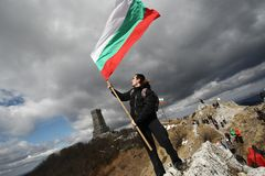 Shipka peak monument - a symbol of the liberation of Bulgaria. March 3 is the National Day of Bulgaria. Shipka peak, Bulgaria - March 3, 2015: People in the Stock Photo