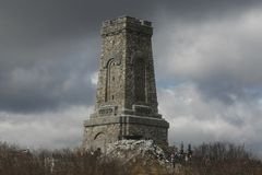 Shipka peak monument - a symbol of the liberation of Bulgaria. March 3 is the National Day of Bulgaria. Shipka peak, Bulgaria - March 3, 2015: People in the Royalty Free Stock Images