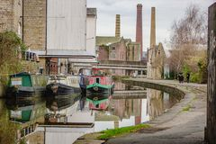 Three chimneys on the canal side royalty free stock images
