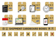 Shipment cardboard boxes Royalty Free Stock Images