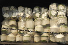 Coconuts Ready for Delivery. A shipment of coconuts being delivered to a fresh market in Bangkok, Thailand Royalty Free Stock Photos