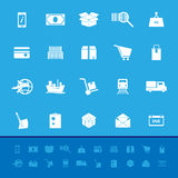 Shipment color icons on blue background Stock Photography