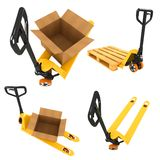 Shipment Concepts - Set of 3D Illustrations. Shipment Concepts - Set of 3D Pallet Truck and Open Cardboard Boxes Stock Photos